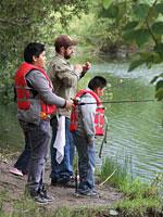 Boys bank fishing