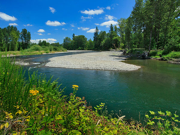 Gravel bars on the North Santiam River